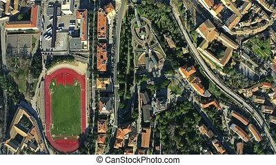 Aerial top down view of Perugia. Italy - Aerial top down...