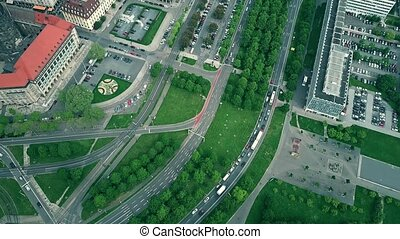 Aerial top down view of road traffic in Dresden, Germany
