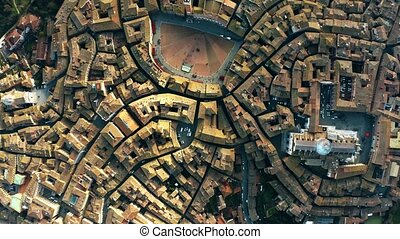 Aerial top-down view of Siena involving Piazza del Campo or...
