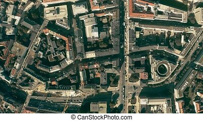 Aerial top down view of streets and buildings in Munich centre, Germany