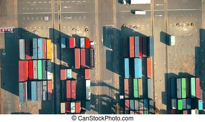 Aerial top-down view of the big cargo container terminal in a port