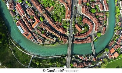 Aerial top down view of the Old City of Bern, Switzerland -...