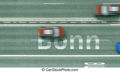Aerial top-down view of the road. Cars reveal Bonn text. Travel to Germany 3D rendering