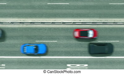 Aerial top-down view of the road. Cars reveal Brisbane text....