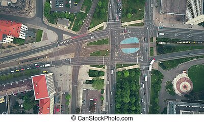Aerial top down view of traffic at major city road...
