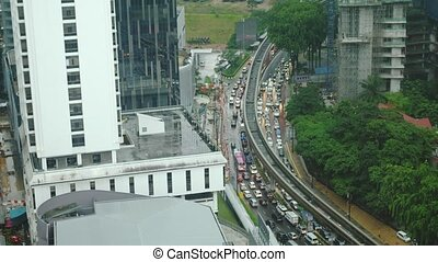 Aerial top down view of traffic jam on a car bridge during...