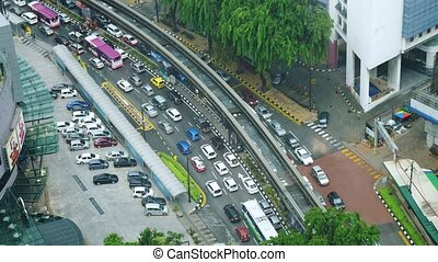 Aerial top down view of traffic jam on the road. 4k. Kuala...