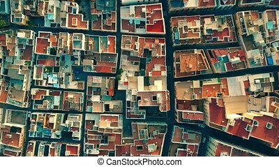 Aerial top down view to mosaic pattern of residential area...