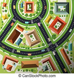 Aerial Top View Flat Design Vector Abstract Green City Map with Streets, Houses, Cars and People