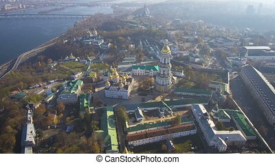 Aerial, top view from Drone: Kiev, Ukraine. Pechersk Lavra Monastery.