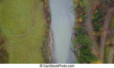 Aerial top view of a mountain river in the Carpathian Mountains