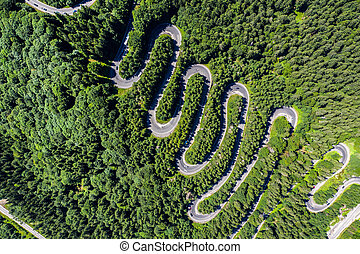 Aerial top view of a winding road in green forest