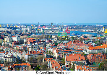 Aerial top view of Gdansk city from Basilica St Marys church, Poland