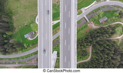 Aerial Top view of Highway Viaduct with Multilane Traffic in...