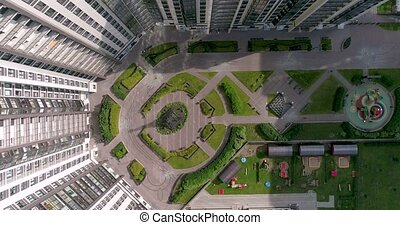 Aerial top view of Modern Apartment in residential area of city