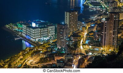 Aerial top view of Monaco from the grand corniche road night timelapse, Monaco France