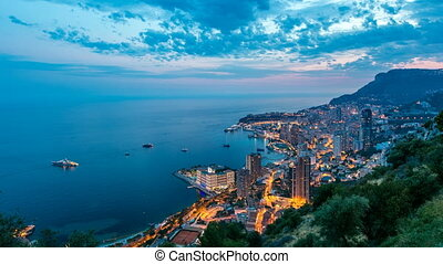 Aerial top view of Monaco from the grand corniche road day...