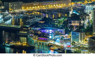Aerial top view of Monaco from the grand corniche road night...