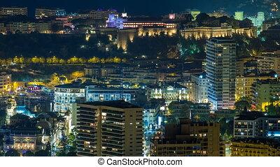 Aerial top view of Monaco from the grand corniche road night...
