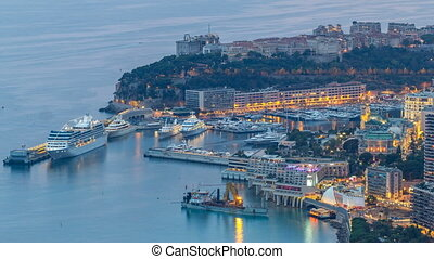 Aerial top view of Monaco from the grand corniche road day...