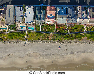 Aerial top view of Monarch beach coastline