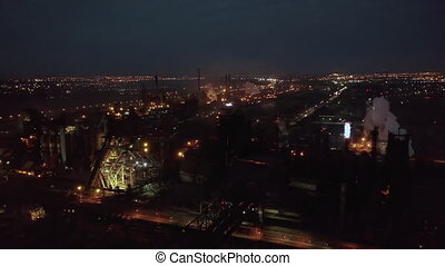 Aerial top view of power plant energy industry factory in night abstract background top view pollution concept