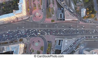 Aerial top view of road junction in Moscow from above,...