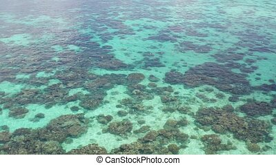 Aerial top view of the beautiful lagoon sea surface - Aerial...