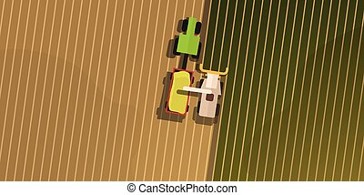 Aerial Top view of the field and harvesting.