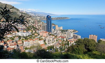 Aerial Top View Of The Principality Of Monaco Time Lapse