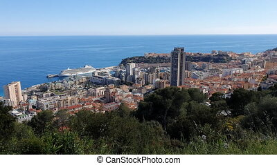 Aerial Top View Of The Principality Of Monaco Timelapse -...
