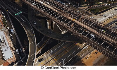 Aerial top view of traffic intersection in New York,...