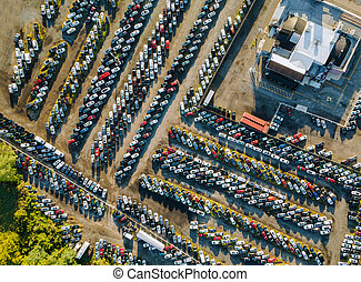 Aerial top view of used car auction for sale a parking lot