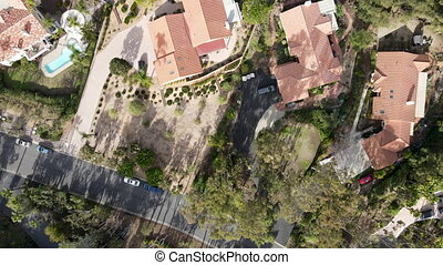 Aerial top view of wealthy mansion in East Canyon Area of Escondido, San Diego, California