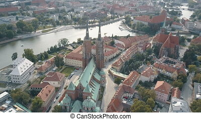 Aerial top View of Wroclaw, Ostrow Tumski, Cathedral of St....