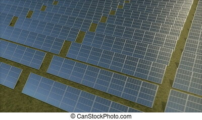 Aerial tracking shot of a solar farm. - Panning aerial...
