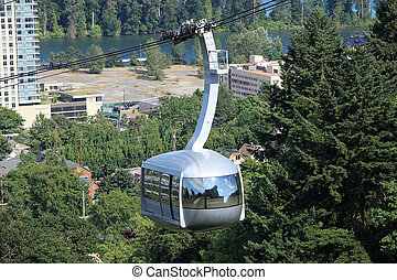 Aerial tram climbing, Portland OR.