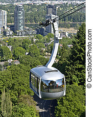 Aerial tram, Portland OR. - An aerial tram transporting...
