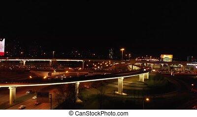 Aerial Transport road junction. Modern city traffic road at...