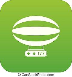Aerial transportation icon digital green