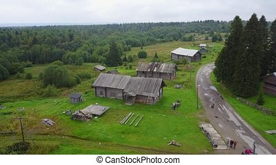 Aerial typical russian countryside landscape village with...