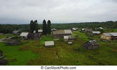 Aerial typical russian countryside landscape