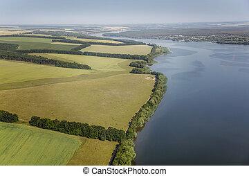 aerial udsigt, above, den, flod