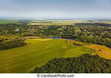 aerial udsigt, above, den, landsby, og, grønne, felter