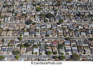 aerial udsigt, i, øst, san francisco bugt, hjem