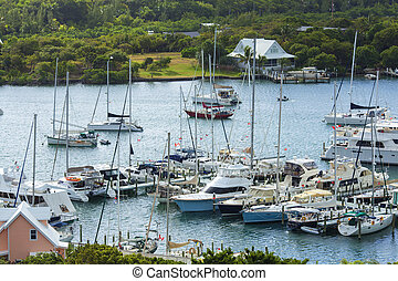 aerial udsigt, i, bahamas