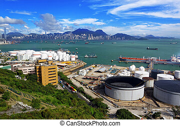 aerial udsigt, i, benzin, industriel, zone