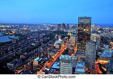 aerial udsigt, i, boston, hos, halvmørket