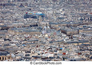 aerial udsigt, i, central, paris, hos, centrer georges pompidou, frankrig