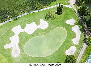 aerial udsigt, i, den, grønne, golf kurs